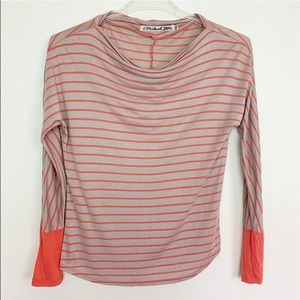 Michael Stars Orange Striped Long Sleeve Blouse OS